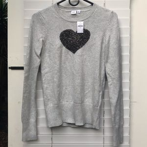 Gap Intarsia Heart Grey Pullover Sweater